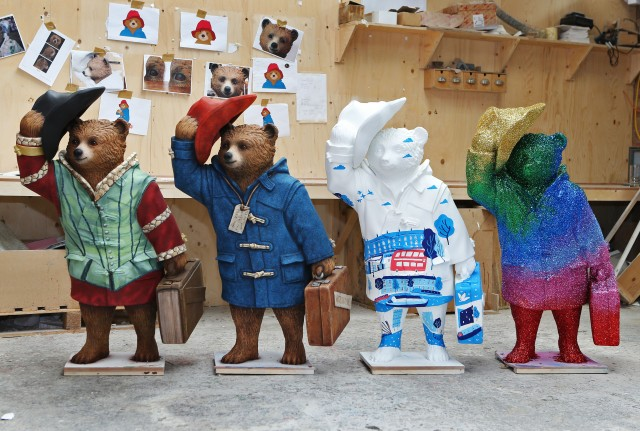 (left to right) Paddington Shakesbear by Michael Sheen, Paddington Bear by Michael Bond, Paddingtonscape by Hannah Warren and Paddington Sparkles by Frankie BridgeCREDITJoePepler